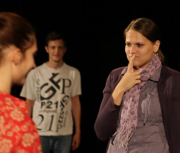 Фото Виолы Соколан с репетиции спектакля