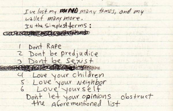 Страница из дневников Курта Кобейна.