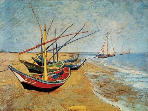 Ван Гог. Лодки на пляже Сен-Мари-де-ла-Мар (1888). В июне 1888 г. Винсент провел пять дней на Средиземном море, где много рисовал рыбацкие лодки, местные уютные домишки и цыганские таборы.