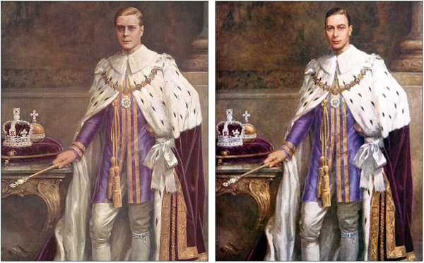 Эдуард VII слева, Георг VI справа.