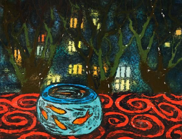 Золотые рыбки и светящиеся окна (2007 г.) Цветная гравюра.