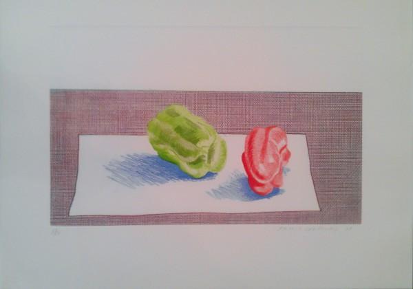 Цветной офорт Два перца авторства видного представителя поп-арта Дэвида Хокни.