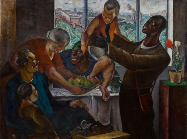 Абрам Черкасский. Приезд иностранных рабочих. 1932 г. (фрагмент)