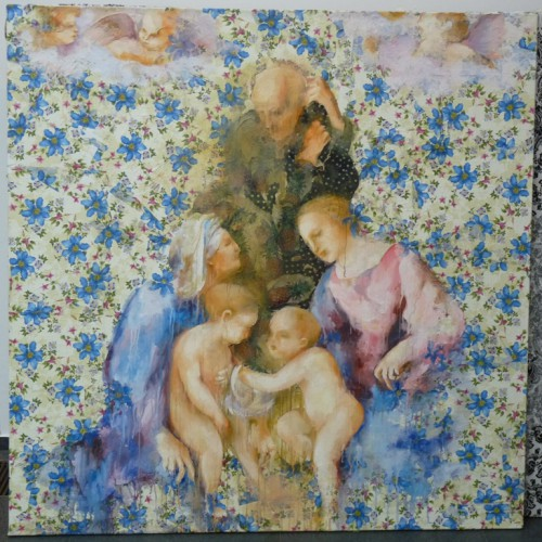 Святое семейство. Из серии Коан (2011 г.) Смешанная техника на холсте