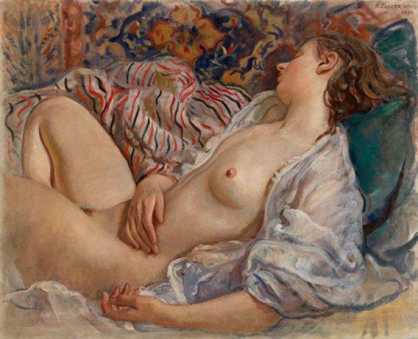 Зинаида Серебрякова. Спящая обнаженная (Катя)