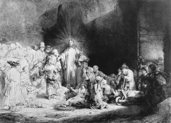 Офорт Рембрандта Маленькие дети, пришедшие к Иисусу