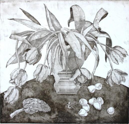 Тюльпаны, офорт, 50х50 (2009 г.)