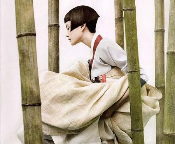 Фрагмент фото, съемка для Vogue Korea 2007. Ханбок - традиционный костюм жителей Кореи.