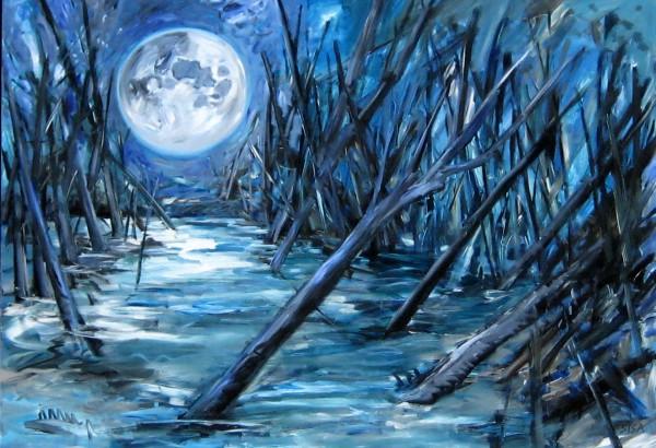 Ганс Сиса Лунная ночь. Полотно, акрил