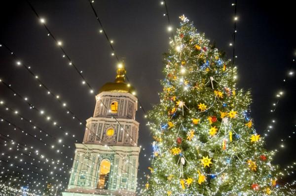 Главная елка Украины установлена на Софийской площади