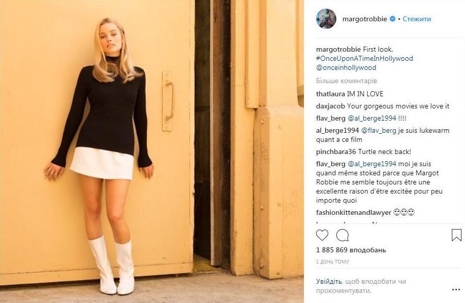 Новый снимок в Instagram Марго Робби, где она в образе Шерон Тейт