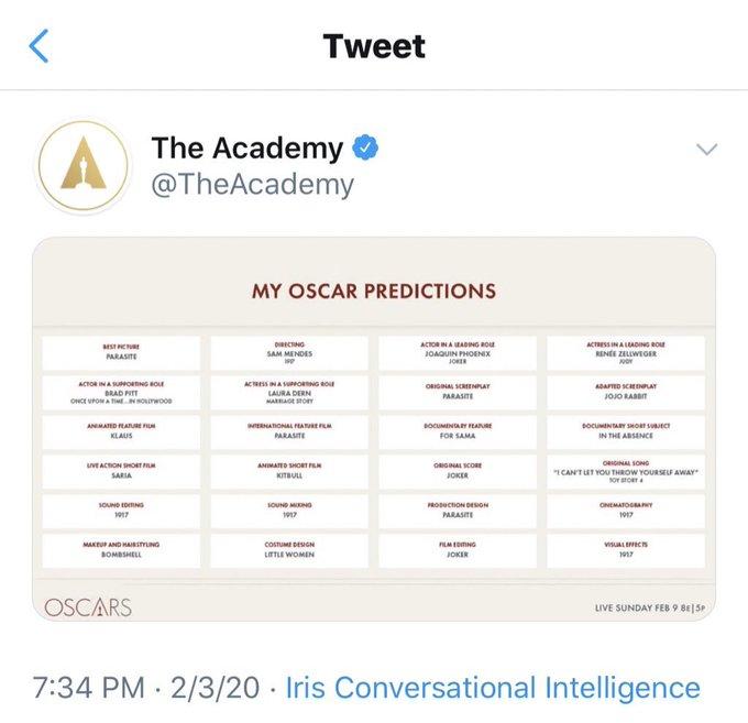 Возможный список победителей Оскара-2020
