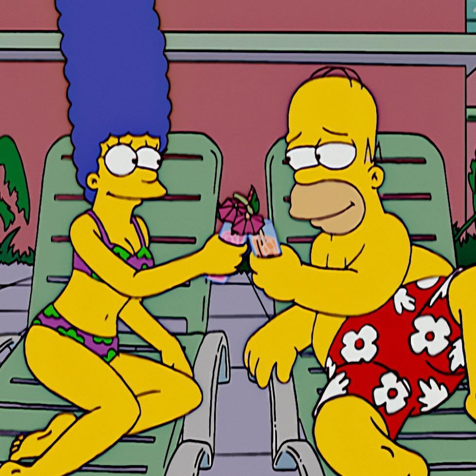 Главные герои сериала Симпсоны - семейная пара Гомер и Мардж