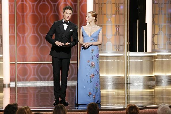Эдди Рэдмэйн и Джессика Честейн на церемонии вручения Золотого Глобуса