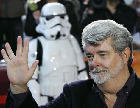 Джордж Лукас на премьере фильма Звездные Войны
