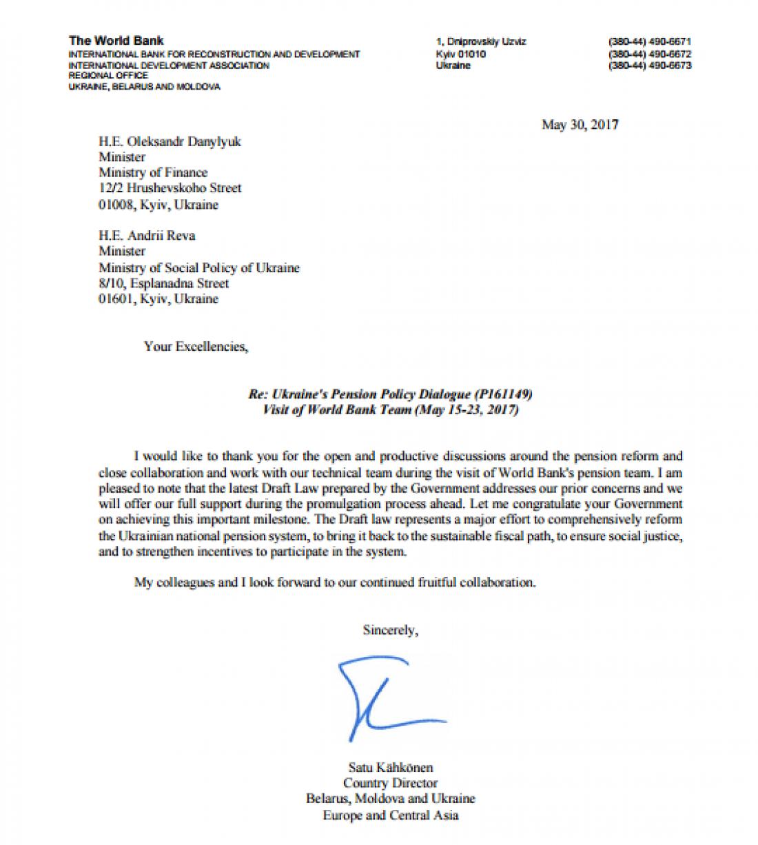 Письмо директора ВБ по делам Беларуси, Молдовы и Украины Сату Кахконен