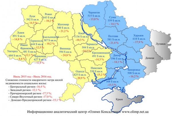 Сколько стоит квадратный метр в разных областях Украины
