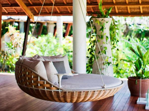 Отель Dedon Island Resort, Филиппины. Подвешенные соломенные кровати.