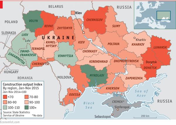 Индекс производства по областям Украины, %