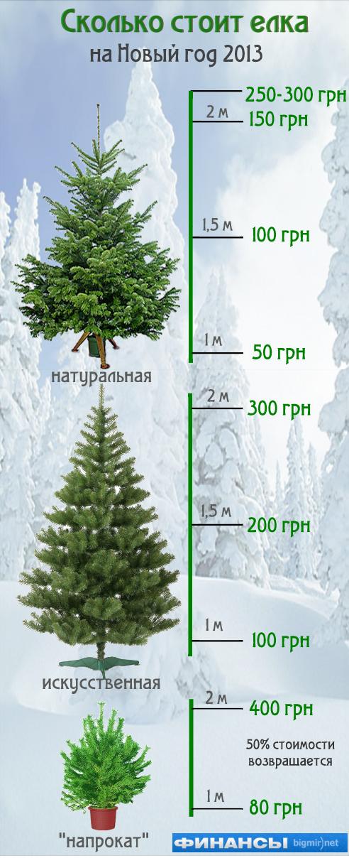 Новогодняя елка стоит от 50 до 300 грн.