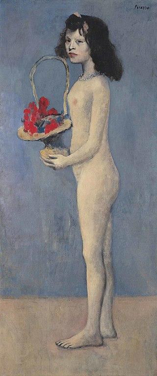 """""""Молодая девушка с цветочной корзиной"""", автор - Пабло Пикассо"""