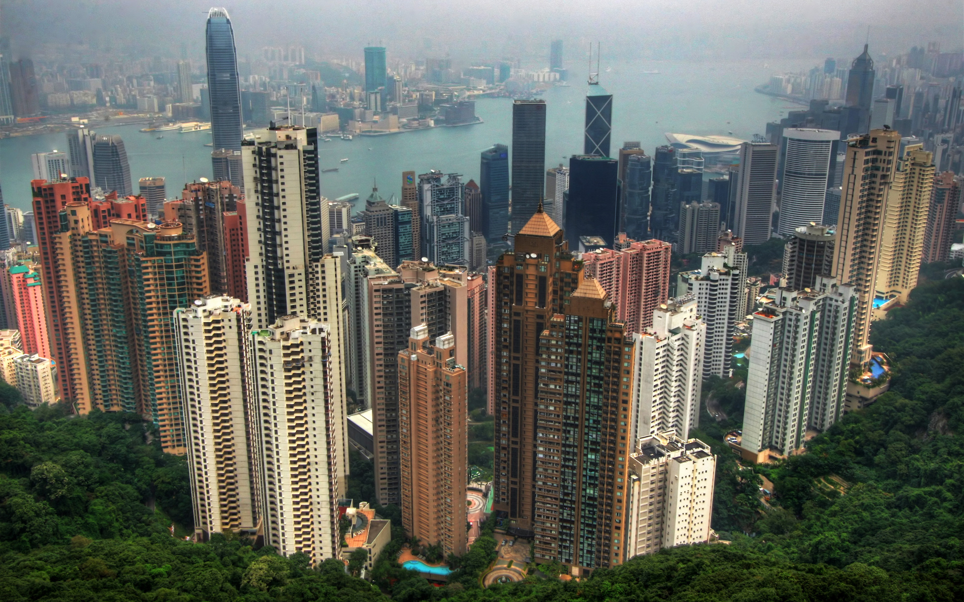 Строительство в Китае. Вид на Гонконг