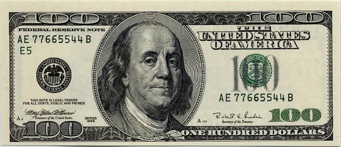 На оригинальной 100-долларовой купюре изображен Бенджамин Франклин