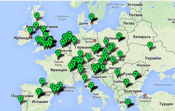 Карта Bitcoin-банкоматов Европы