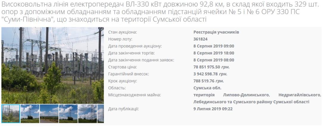 Линию электропередач хотят продать за 78,8 млн грн