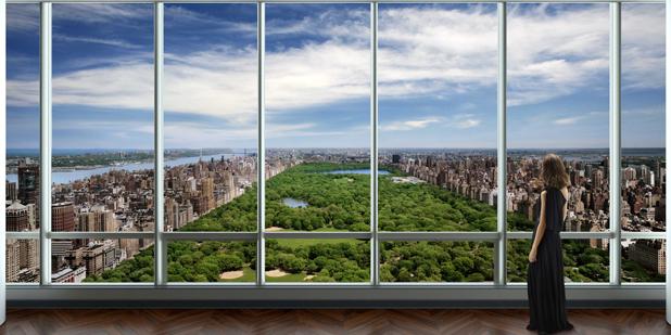 Вид из окна пентхауса на Центральный парк Нью-Йорка