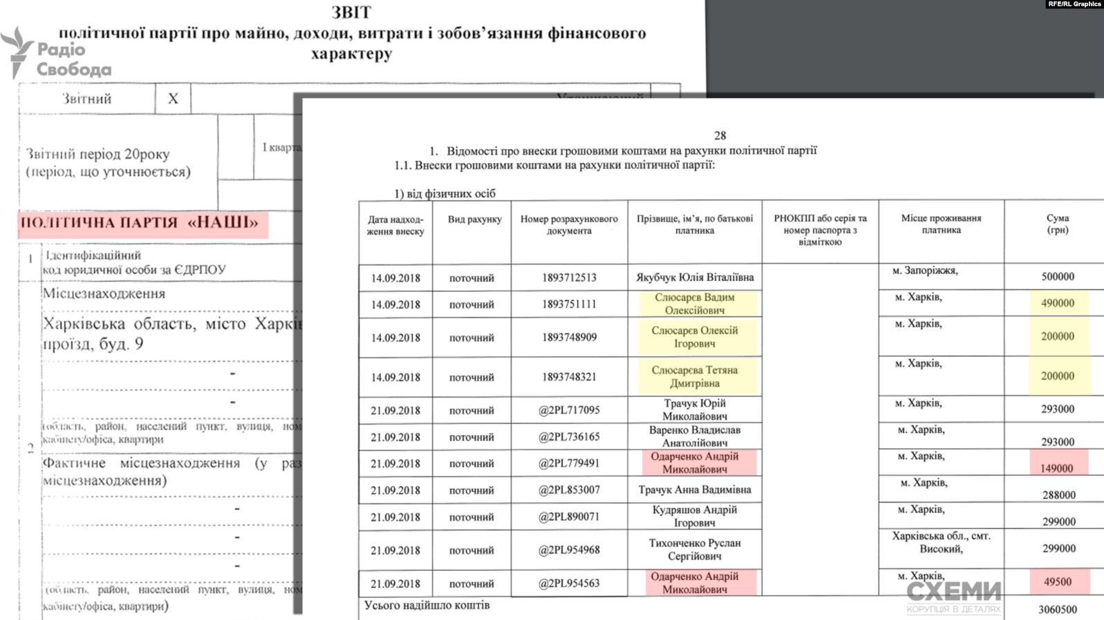 Отчет о финансировании партии Наши Евгения Мураева