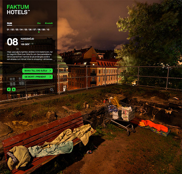 Концептуальная гостиница предлагает постояльцам спать под открытым небом - как бездомным