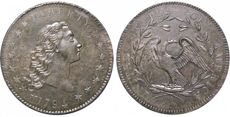 1 место. Доллар Распущенные Волосы. Эта редчайшая монета, отчеканенная в 1794 году из серебра продана за $10 016 875. На протяжении всей истории доллара Распущенные Волосы считалась одной из самых редких и ценных монет США.