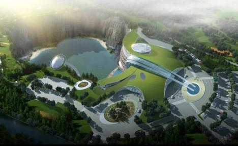 Массивная стеклянная конструкция рядом с отелем будет имитировать водопад