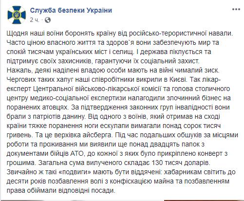 Сообщение пресс-службы СБУ