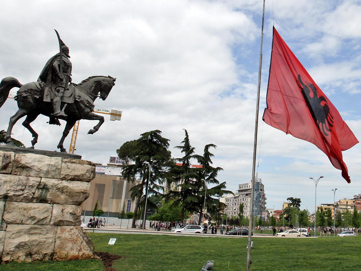 Площадь Скандербега в столице Албании Тиране.