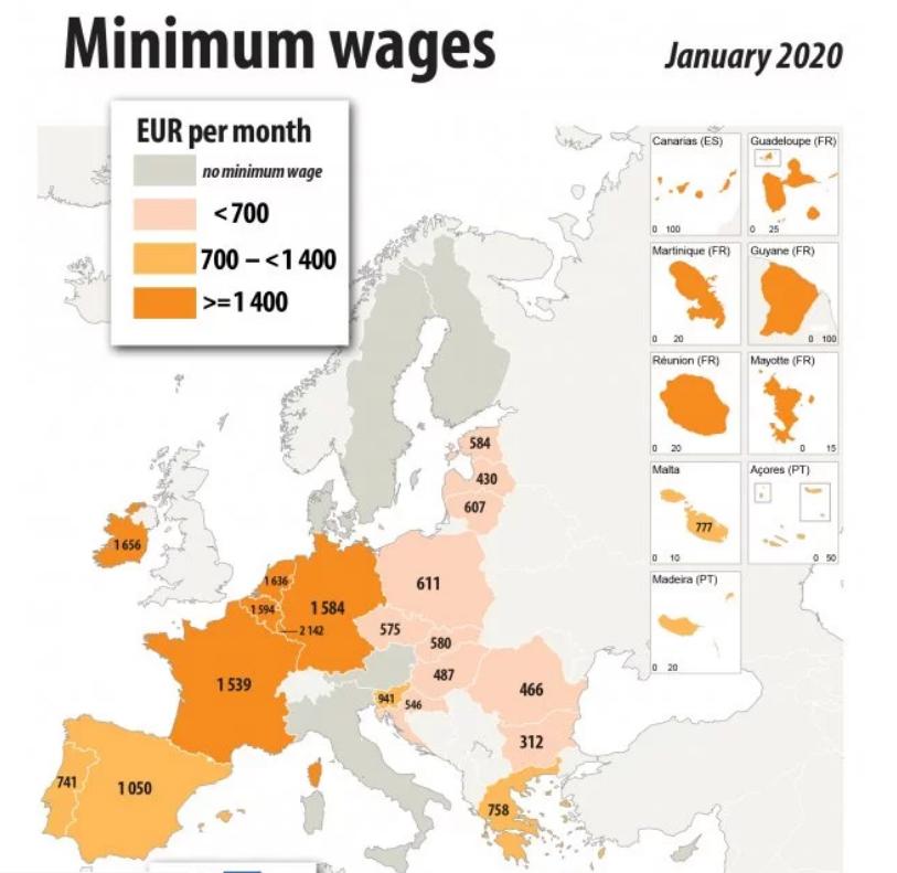 Меньше всех зарабатывают жители Болгарии. Их доход составляет 312 евро в месяц