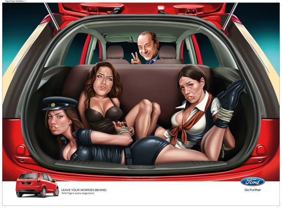 Рекламное агентство JWT India решило обыграть любвеобильность итальянского политика в рекламе автомобиля Ford Figo.