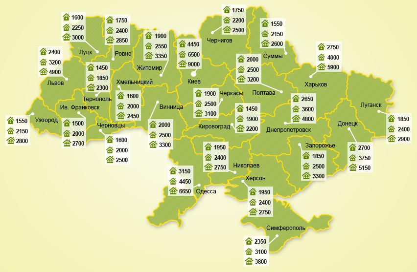 Цены на аренду 1, 2 и 3-комнатных квартир по регионам