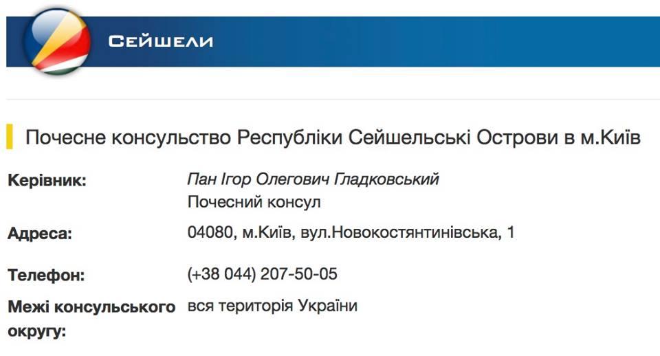 Игорь Гладковский является почетным консулом Сейшел