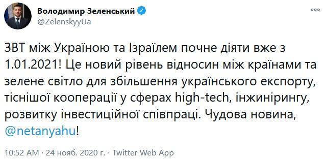 Зеленский сказал, когда заработает ЗСТ между Украиной и Израилем