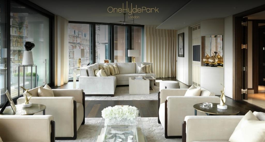 Комната для официальных приемов в одной из роскошных квартир в One Hyde Park