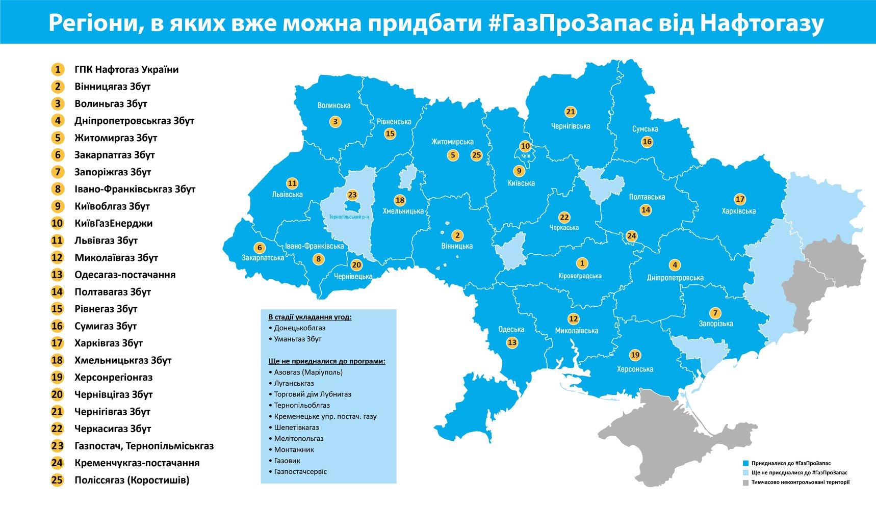 Почти всюду в Украине можно купить газ