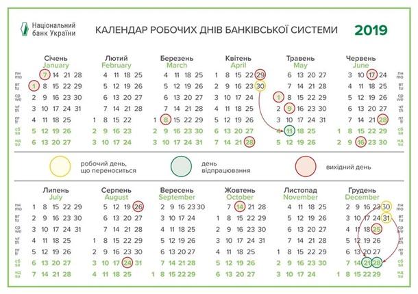 Календарь рабочих дней банковской системы