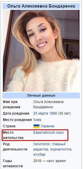 Ольга Бондаренко в Википедии