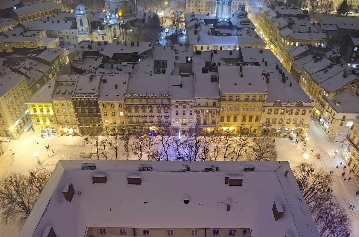 Новый год во Львове. Вид с Ратуши