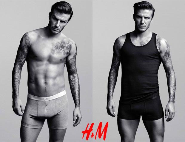 Футболист Дэвид Бекхэм в рекламе нижнего белья H&M