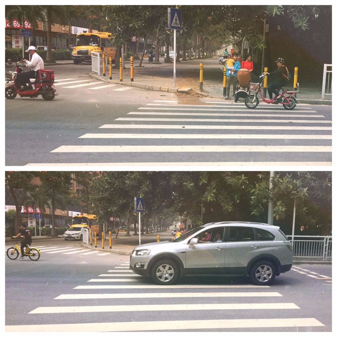 Семья пытается перейти дорогу в разрешенном месте, но авто проезжает в нескольких сантиметрах от нее