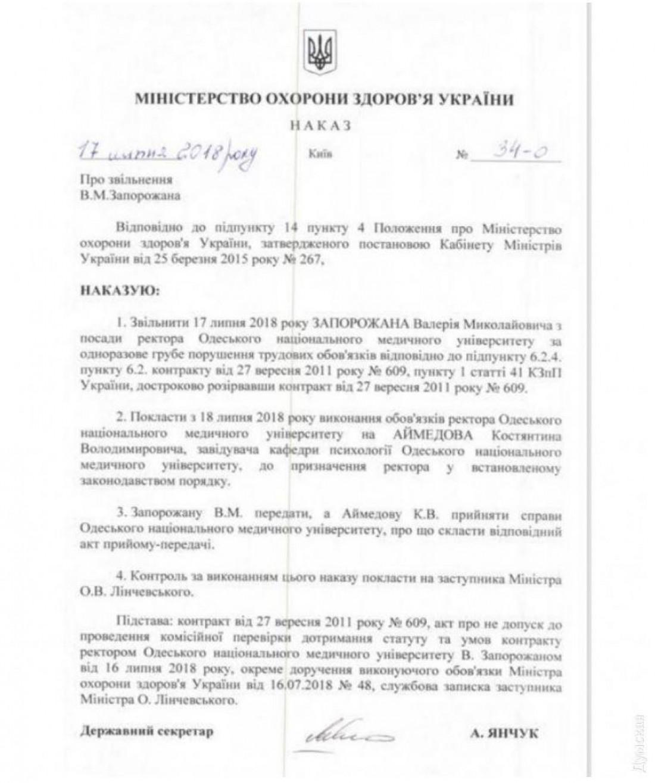 Приказ об увольнении Валерия Запорожана