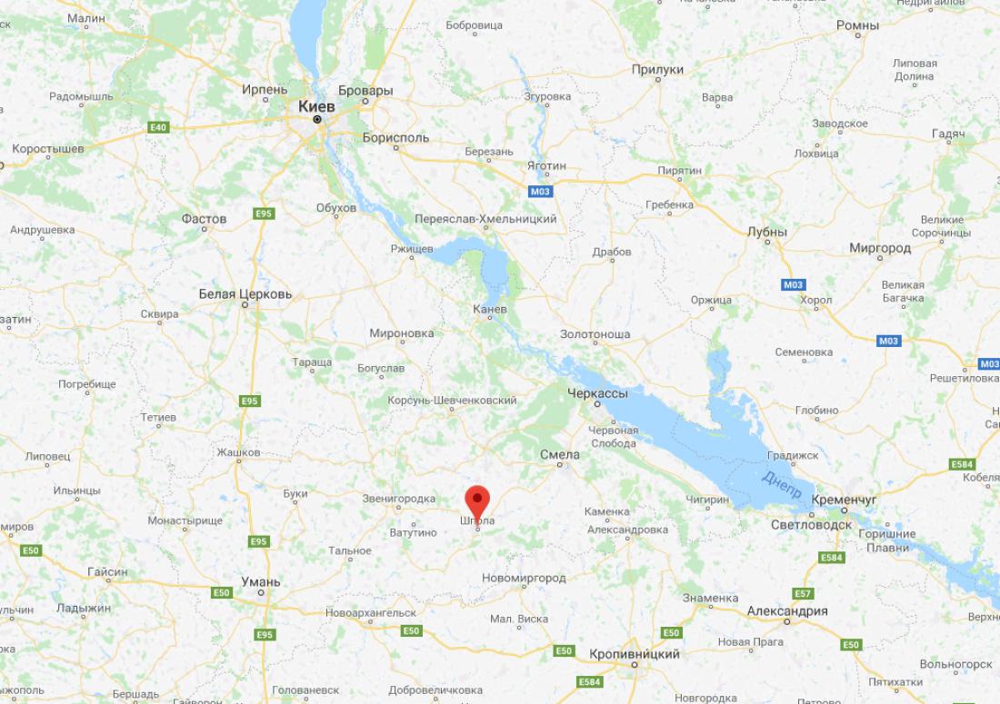 Шпола на карте Украины